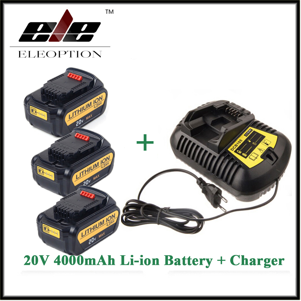 3x Eleoption 20V 4000mAh Replacement Power Tools Battery for Dewalt DCB181 DCB182 DCD780 DCD785 DCD795 1x