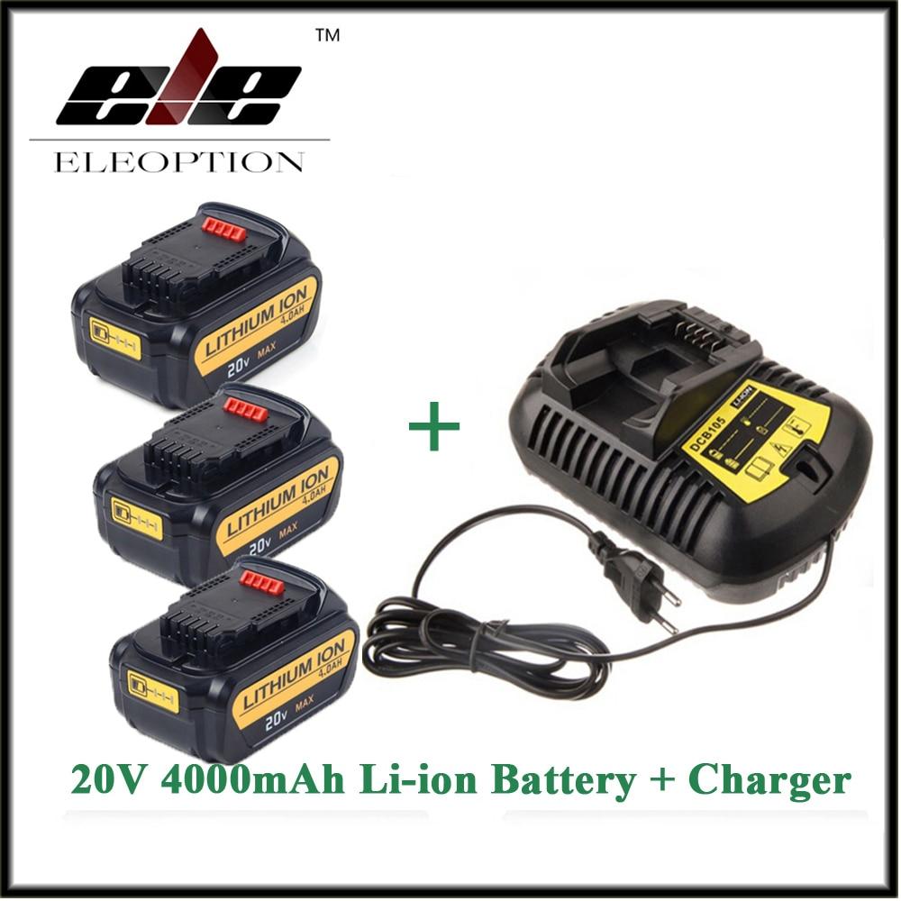3x Eleoption 20V 4000mAh Replacement Power Tools Battery for Dewalt DCB181 DCB182 DCD780 DCD785 DCD795 1x