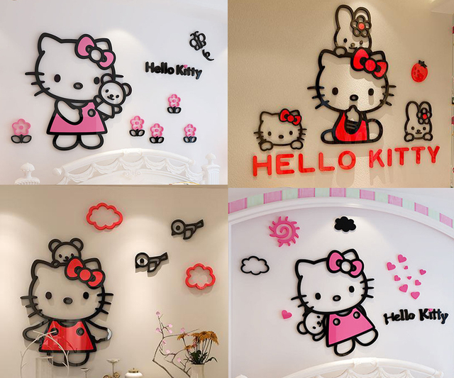 Hello Kitty Wall Stickers for Kids Rooms 3D Acrylic Cartoon Cute Lovely Adesivo De Parede Infantil Princess Girls Diy Decoration
