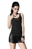 PUNK RAVE Sleeveless Black Gothic Cotton Women Blouse Hollow Out Vest