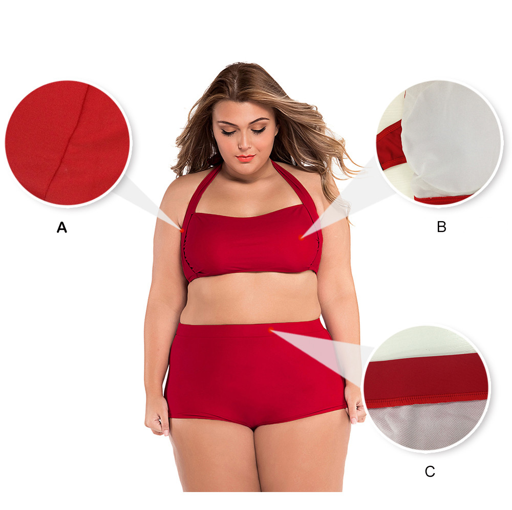 SEBOWEL Sexy Plus Size Swimwear Womens High Waist Bikini Set 19 Summer Swimsuit Sexy Large Female Bikinis Bathing Suits 5XL 4