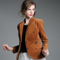 women Brand fashion single breasted jacket coat corduroy suits blazer plus size