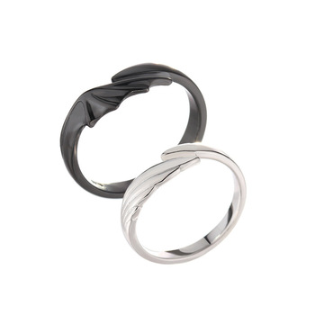 Sterling Silver Angel And Devil Couple Rings 5
