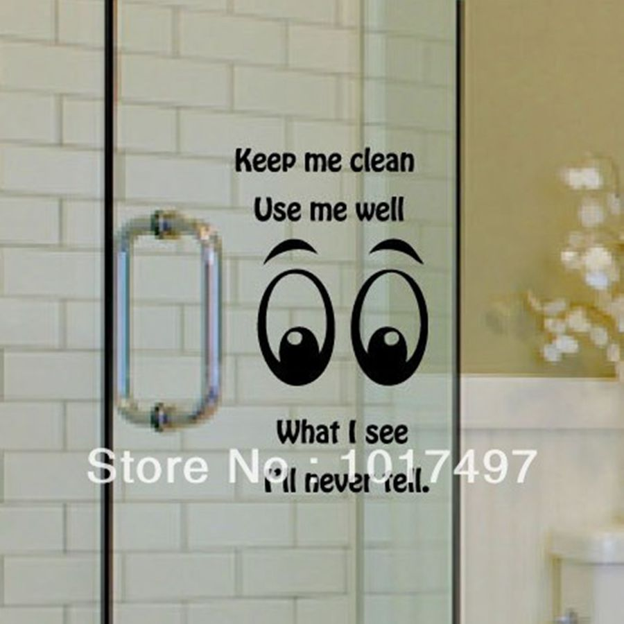 Funny Glass Wall Decal Stickers Family Toilet Bathroom