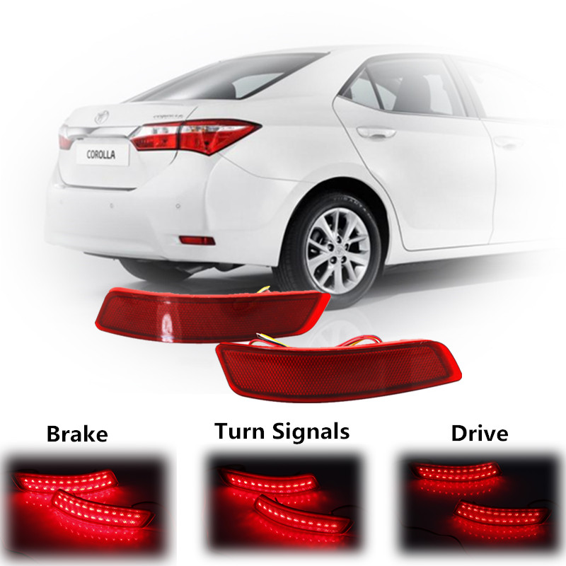 ФОТО Red LED Driving Brake Stop Tail Fog Lights & Turn Signals for Corolla Lexus GS/ES Car Styling Auto Rear Bumper Reflectors Light
