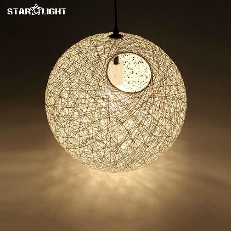 ФОТО Diameter 20cm-90cm Pendant lights Hanging lamp Multiple colors Christmas Lampshade linen Woven ball Shade Random Pendant lamp