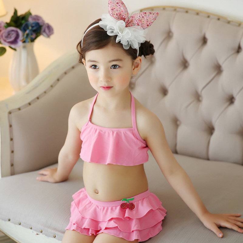 Hot Sale Summer Children Baby Girls 2pcs Swimsuit Pink Top + Swimming Trunks Kids Swimwear Costume Bikini