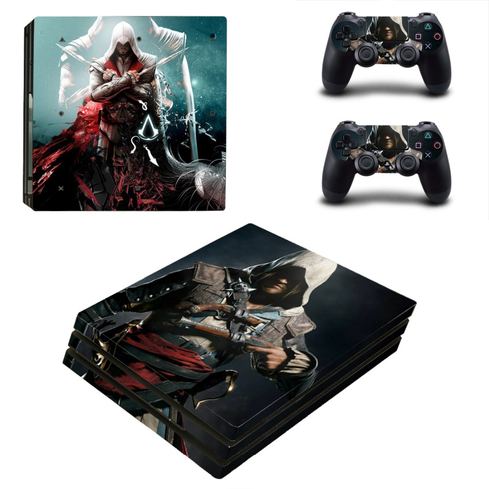 Assassins Cread Design Vinyl Skin Sticker for Sony PS4 Pro Console and 2 Controllers Decal Cover Game Accessories