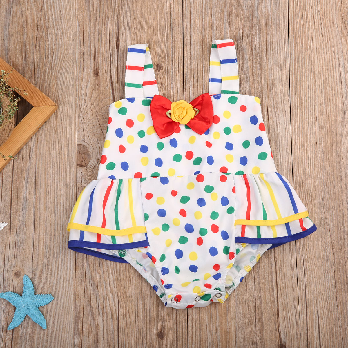 Infant Baby Girls Polka Dot   Romper   Sleeveless Jumpsuit Outfits Sunsuit Clothes
