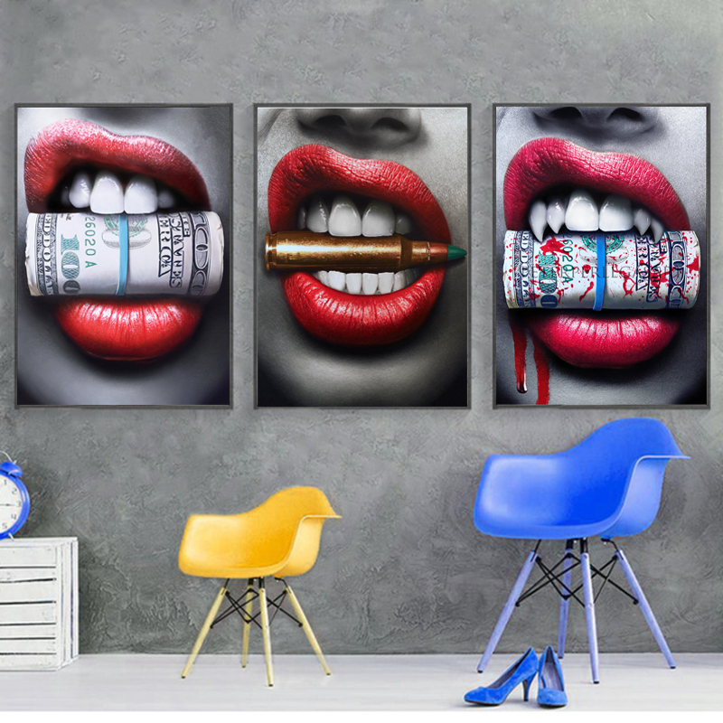 SELFLESSLY Wall Art Prints Posters Sexy Red Lips Bite Bullet and Money Modern Canvas paintings For living room Decor Unframed
