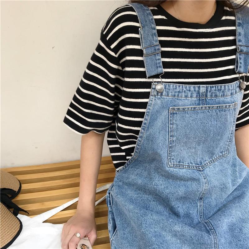 7d9396afe70 2018 Summer Women Flower Embroidery Denim Jumper Dress Pocket Adjustable  Strap Jeans Bib Overall Dress Korean Slim Mini Dress-in Dresses from Women s  ...