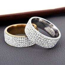 Anel estilo vintage retrô para mulheres, de aço, 5 fileiras, joia de cristal transparente, moderno, aço inoxidável, aliança de casamento, noivado, venda imperdível