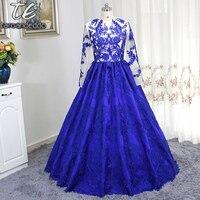 Znani Projekt New Arrival Royal Blue Ball Suknie Haftuje Lace Wysokiej klasy Jakości Prom Suknie Długie Rękawy Wieczór Party sukienka