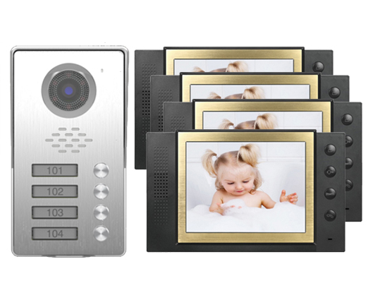 SMTVDP New Style TFT LCD Color 8Video Door Phone Doorbell IR Intercom Home Security Video System FRID Camera For 4-Apartments