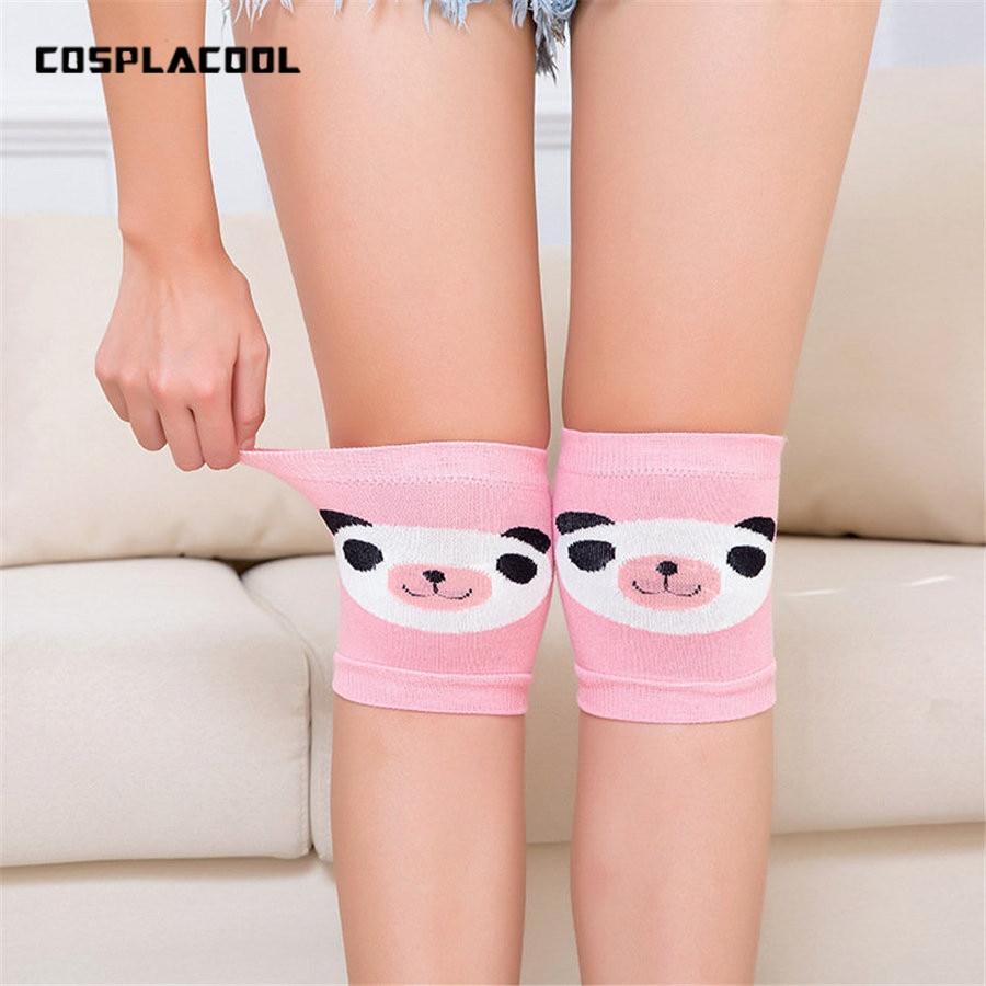 Womens Cartoon Panda Pattern Cute Knees Socks Ladies Sporting Safe Tapes Footballing Knee Wraps Brace Protection Knee Pads