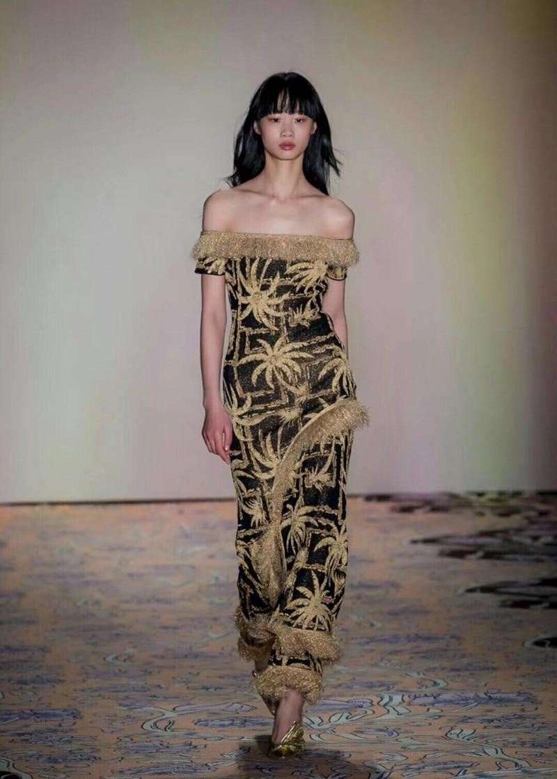 Для женщин с открытыми плечами Цветочный кисточкой Высокая Талия Дизайн Разделение вязать длинное платье для вечерние и Повседневное