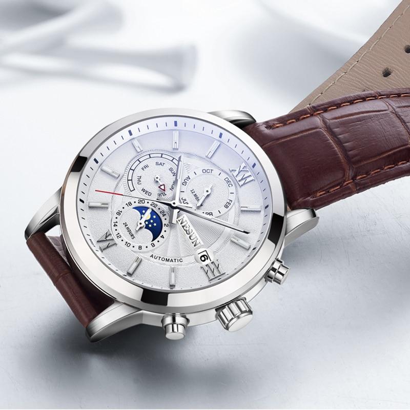 NESUN Men Creative Simple Automatic Mechanical Wristwatches Sapphire Waterproof Military Sports Watches Male Relogio Masculino
