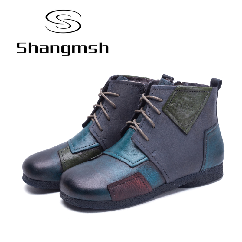 Shangmsh Quality Genuine Leather Shoes 2017 Spring Autumn Fashion Ankle Boots Women Boots Soft Casual Flat Shoes Plus Size shangmsh brand women s winter boots 2017 retro handmade genuine leather ankle boots soft casual ladies autumn shoes