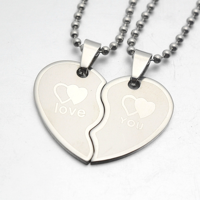 839f6c5c24 Silver Tone His & Hers Couples Heart Love You Charm Pendant Necklace Set  W/SS