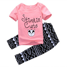 2pcs clothing set!! wholesale dropshipping infant kids baby girls outfits summer letter printed tops striped long pants 1-3Y
