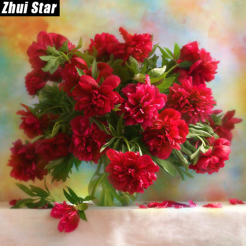 5D DIY Diamond Painting Red peony flowers Embroidery Full Square Diamond Cross Stitch Rhinestone Mosaic Painting Decor Gift VIP