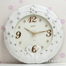 High quality 16 inch large lastest modern ultra-silence brand white peafowl wall clocks de parede horologe free shipping