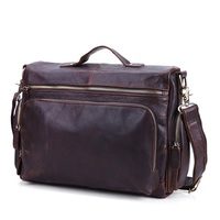 Vintage Genuine leather men briefcase bag business men's laptop notebook high quality Crazy horse leather handbag shoulder bags