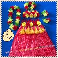 1sets/lot S825# Event & Party suppliers Hawaiian Hula Grass Skirt Flower Party Dress Beach Dance Costume Free Shipping