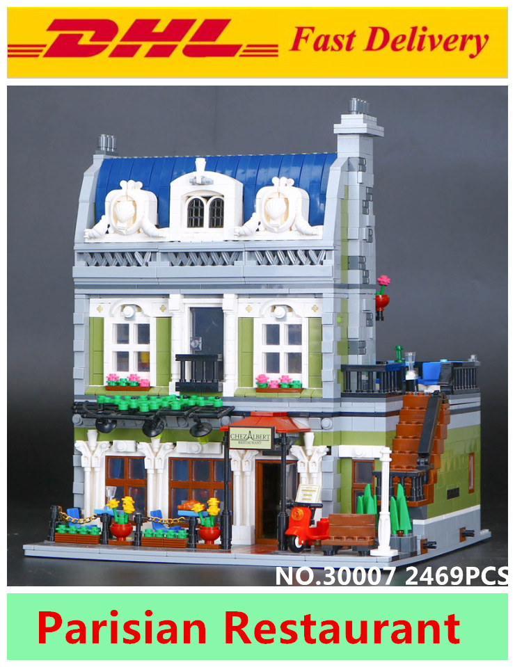 LELE 30007 Creator Expert City Street Parisian Restaurant Model Building Kits Blocks Toys for children Clone Lepin 15010 10243 new lepin 15010 expert city street parisian restaurant model building kits blocks funny children toys compatible with 10243 gift