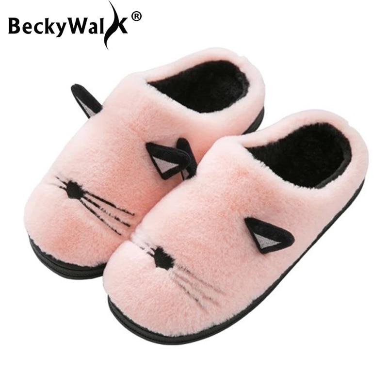 c9b01e80c Detail Feedback Questions about BeckyWalk 2018 Autumn Winter Warm Cotton  Children Slippers Kids Boy Shoes Ears Cartoon Plush Indoor Home Baby Girls  Shoes ...