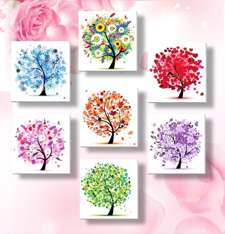 ^ ٪ 7 ألوان شجرة زهرة نمط 4 مواسم DIY 5D الماس اللوحة الفسيفساء جولة الكريستال عبر الابره مجموعات الماس التطريز