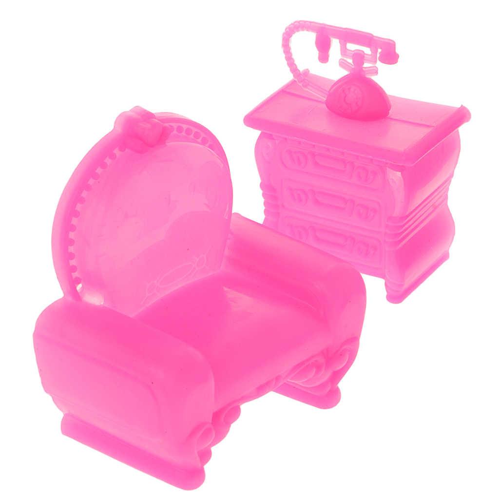 새로운 6Pcs 인형 집 가구 세트 플라스틱 소파 의자 램프 테이블 인형 집 장식 어린이 장난감 클래식 장난감 소녀 선물