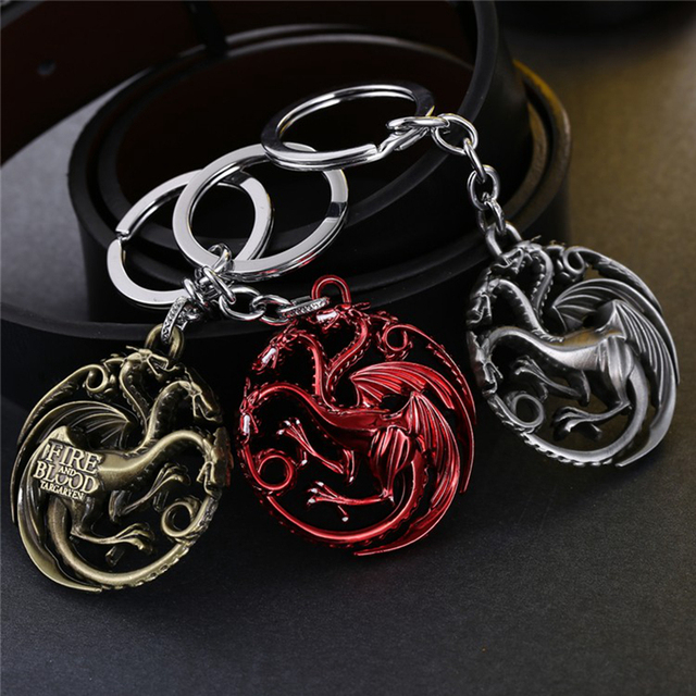 New Arrive Game Of Thrones House Targaryen Pendant Keychain Fire And Blood  Dragon Game Of Throne