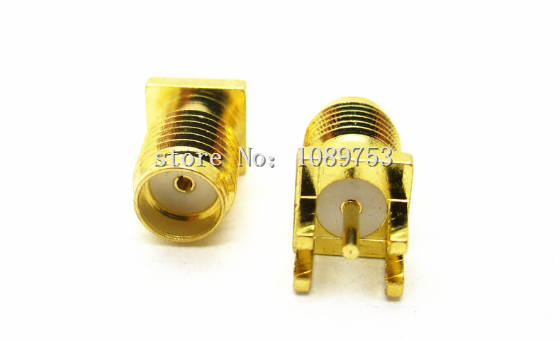 100pcs SMA Female Jack Solder Edge PCB Mount Straight RF Connector 1.6mm Pitch SMA-KE