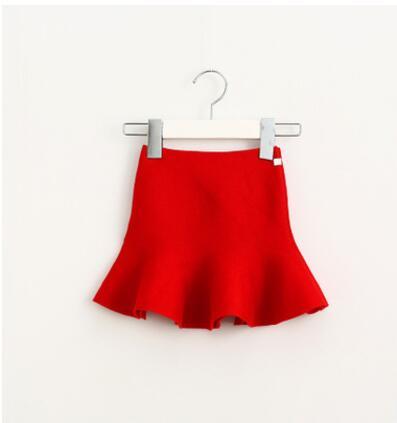 Очаровательная юбка для маленьких девочек; детские юбки-пачки с оборками; детская юбочка; уютные вязаные вечерние юбки; одежда для свадьбы; Рождественский подарок - Цвет: red