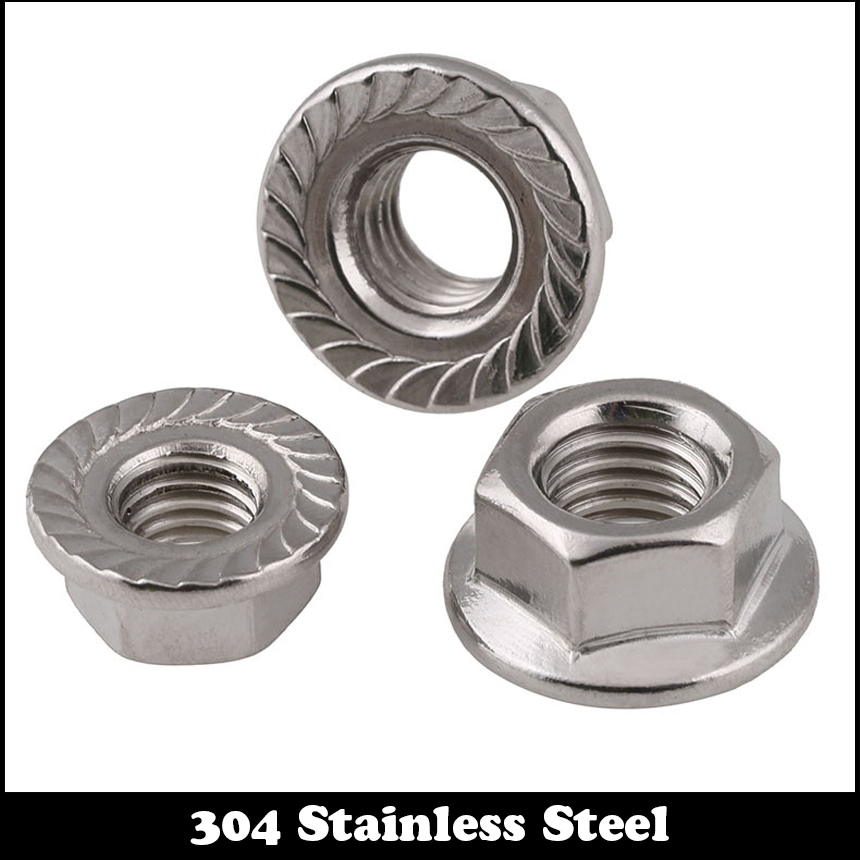 M10 M10*1 M10x1 M10*1.25 M10x1.25 DIN6923 304 Stainless Steel 304SS Thin Fine Pitch Thread Lock Heavy Hexagon Hex Flange Nut
