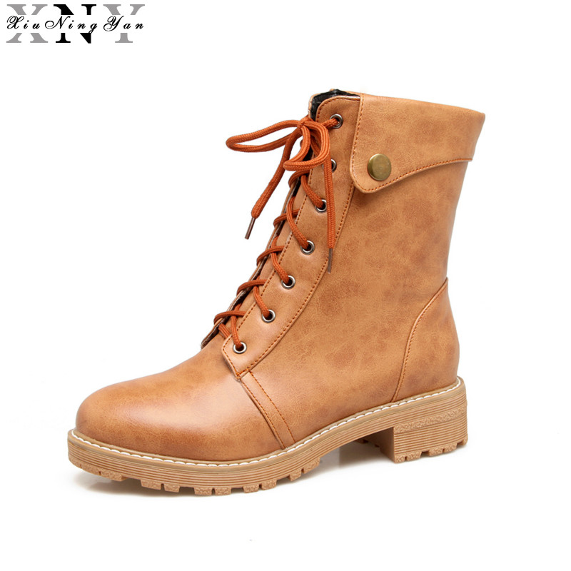 XiuNingYan Women Ankle Boots Fashion Cut Outs Square Heels Round Toe Platform Soft Leather Autumn Female Martin Boots Big Size