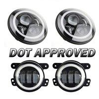 7 LED Halo Headlights For Jeep Wrangler JK JKU TJ LJ Rubicon Sahara Unlimited White DRL Amber Turn Signal + 4 '' Halo Fog Light
