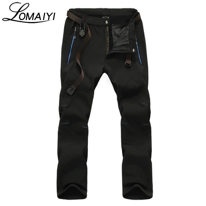 LOMAIYI NEW Stretch Fleece Casual Pants Men Shark Skin Waterproof Trousers Male Black Work Sweatpants Mens Winter Pants,AM202
