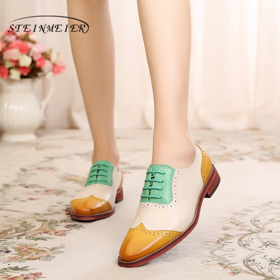 Genuine sheepskin leather brogues yinzo lady flats shoes vintage handmade sneakers red brown yellow oxford shoes for women 2018 women genuine sheepskin leather yinzo shoes vintage flat round toe handmade white sneakers oxford shoes for women 2017