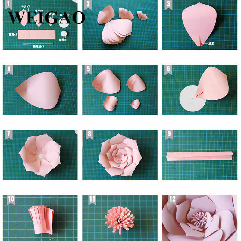 WEIGAO 1Pc 30/40cm DIY Artificial Paper Flowers Wedding Decorations Lovely  Kids Birthday Party Paper Crafts DIY Backdrop Decor