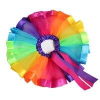2018 Meisjes Gelaagde Rainbow Tutu Rok Boog Dans Ruche Kleurrijke Tutu Rok Voor Party Kids Prinses Tule Pluizige Kleine Baby meisje