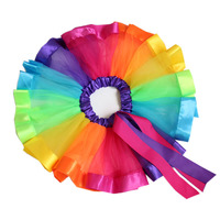2018 Girls Layered Rainbow Tutu Skirt Bow Dance Ruffle Colorful Tutu Skirt For Party Kids Princess