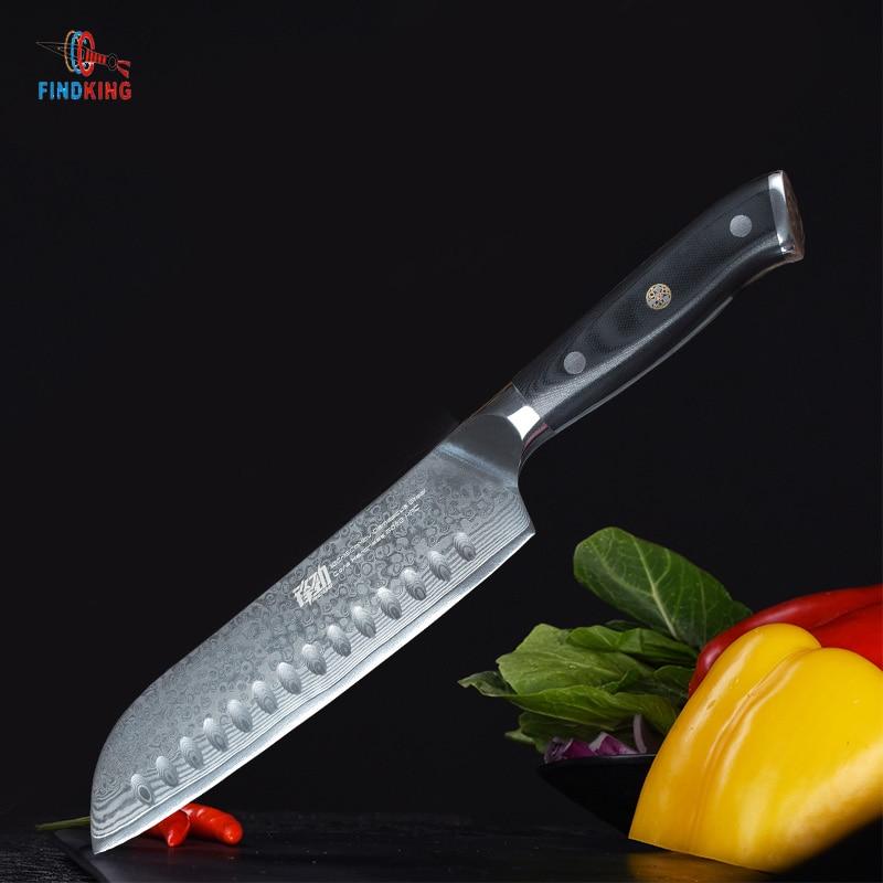 FINDKING G10 griff damaskus messer 7 inch Japanische santoku messer 67 schichten damaskus stahl küche messer-in Küchenmesser aus Heim und Garten bei  Gruppe 1