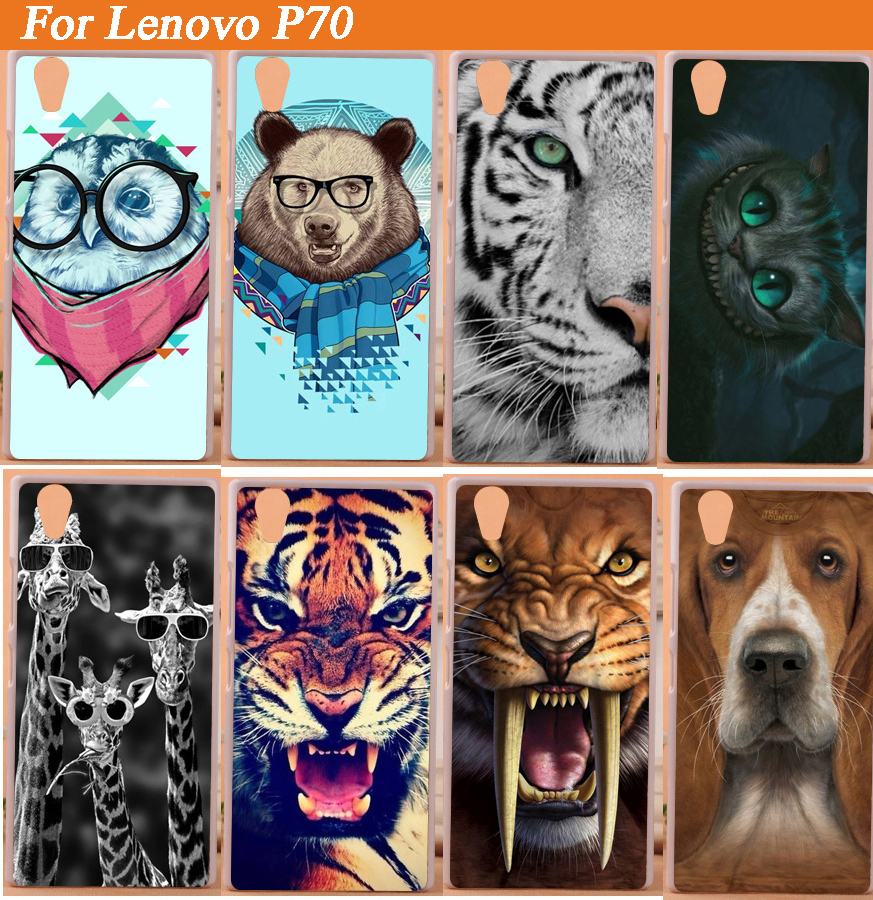 Very cheap HOT Sale painted Cute animals case for Lenovo p70 P 70 patterns DIY Colored Cover for Lenovo P70 in stock