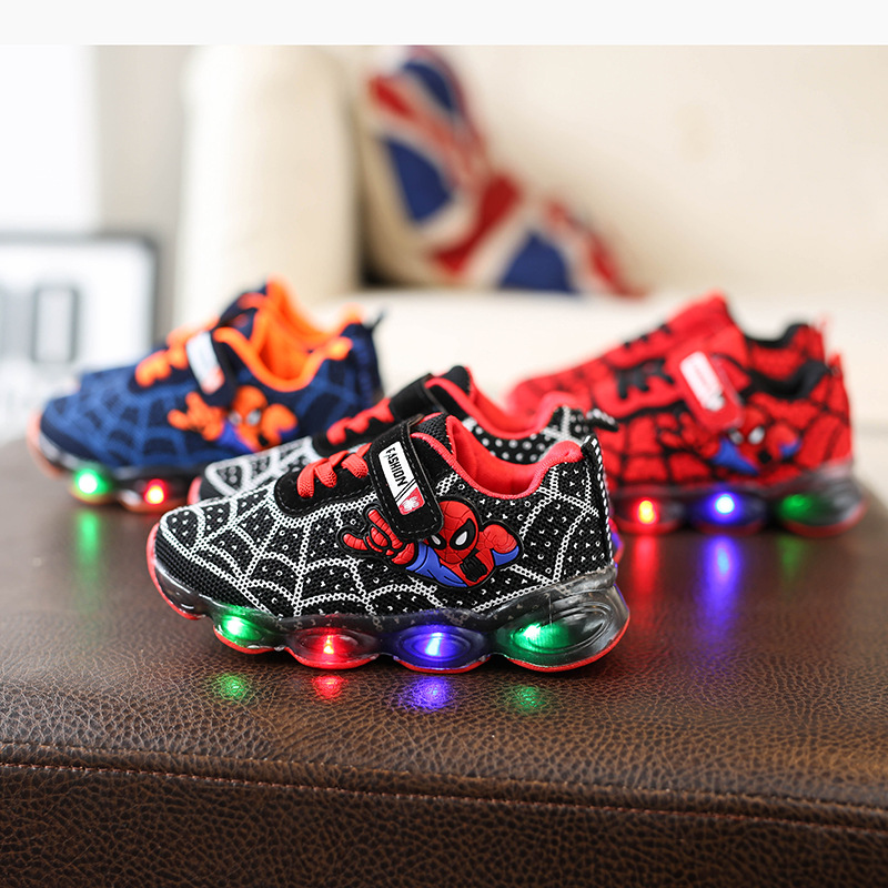Fashion Spider Man Kids Shoes with Light Air Cushion Damping Children Luminous Sneakers Boy Girl Led Light Shoes