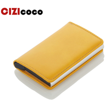 Male Metal Card Holder RFID Blocking Aluminium Credit PU Leather Wallet Mini Business ID Cases Wholesale