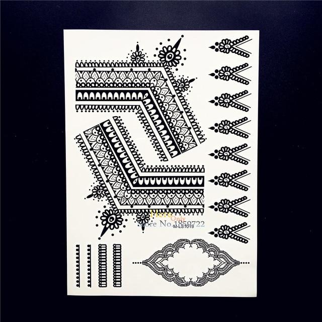 25 Style Chaud Etanche Noir Dentelle Tatouage Au Henne Indien Fleur