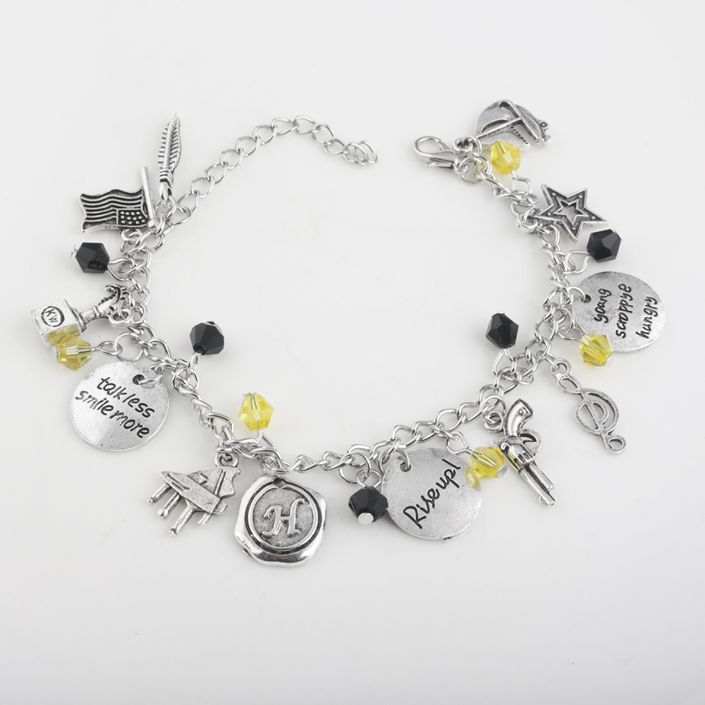 Fashion Trend Jewelry Hamilton Broadway Musical Rise Up Charm Bracelet With Gun Star Music Symbol Leaf Bangle In Chain Link Bracelets From