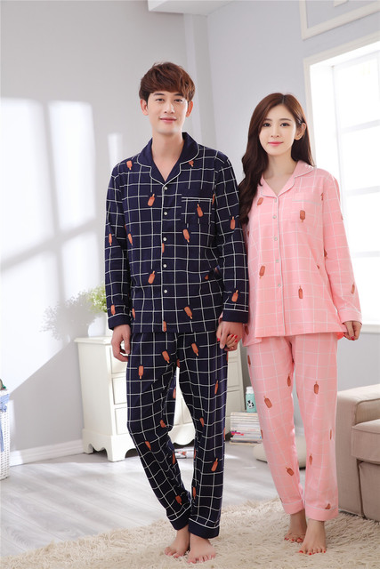 c8fae5c307 Couple pajamas set 100% cotton pajamas plaid pajamas spring and autumn men  and women long sleeve sleepwear lover night suits